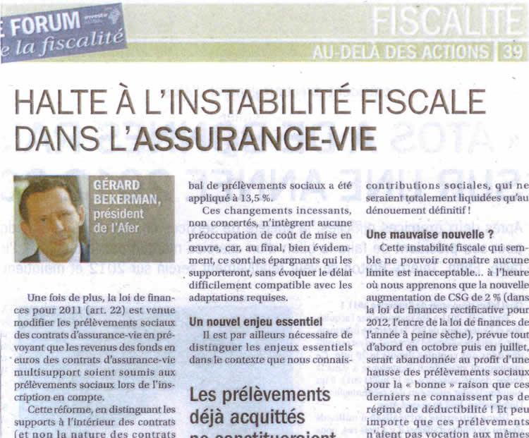visuel post tribune Assurance-vie : Halte à l'instabilité dans l'assurance-vie!