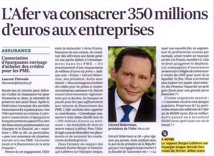 visuel post tribune Gérard Bekerman nous parle des 350 millions d'euros que l'AFER va consacrer aux entreprises