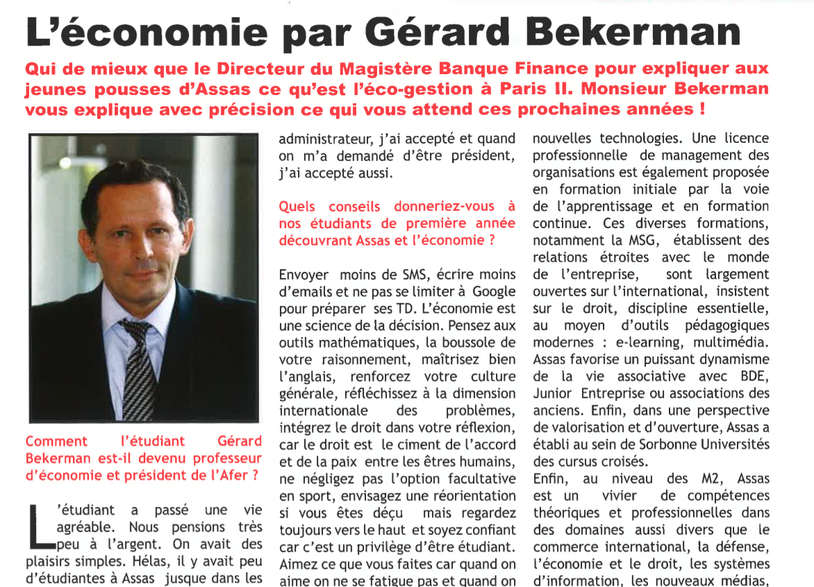visuel post tribune Gérard Bekerman explique aux jeunes pousses d'Assas ce qu'est l'éco-gestion